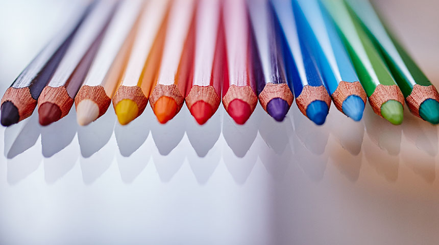 Close-up colorful crayons